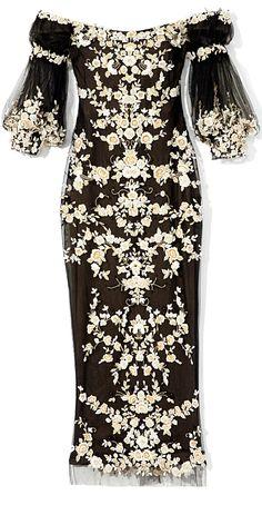 Marchesa Black Off-The-Shoulder Embroidered Cocktail Dress
