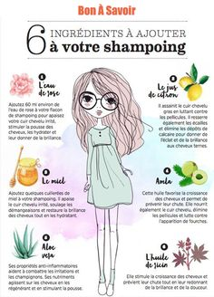 6 ingredients to add to your shampoo Cooking Recipes, Health Tips … Beauty Care, Diy Beauty, Beauty Hacks, Beauty Secrets, Color Cobrizo, Oily Hair Shampoo, Curly Hair Styles, Natural Hair Styles, Maquillaje Halloween