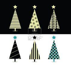 Black & white christmas tree design. Retro christmas trees on white and black background. Vector Illustration. Stock Photo - 6048015