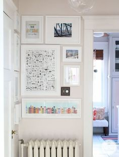 Stack art in compact places (especially if you're trying to distract from an unwanted element in the space, like the radiator spotted in Inspired by Charm).