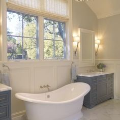 Bathroom Separate Vanities With Freestanding Tub Design, Pictures, Remodel, Decor and Ideas
