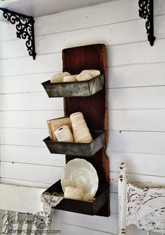 Repurposed Barn Wood Antique Bread Pans Wall Bins by Knick of Time
