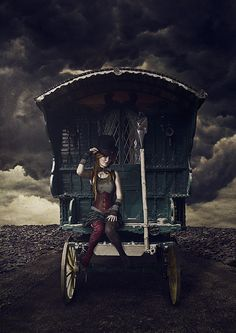 Circus:  #Circus wagon, by outofspace.