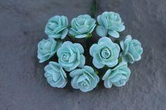 Flower embellishments mint green 25 roses by MintFavorsAndMore