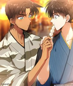What a love between East and West detectives Heiji and Kudo 💝 Cute Anime Boy, Anime Guys, Manga Anime, Anime Art, Conan Movie, Detektif Conan, Conan Comics, Detective Conan Wallpapers, Kaito Kid