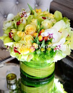 Welcome to The Empty Vase! We serve the Los Angeles & West Hollywood, CA areas for the very best in floral arrangements for any occasion. Yellow Orchid, Yellow Roses, Beautiful Flower Arrangements, Floral Arrangements, Bridesmaid Flowers, Wedding Flowers, Wedding Bells, Glass Cylinder Vases, Gardens
