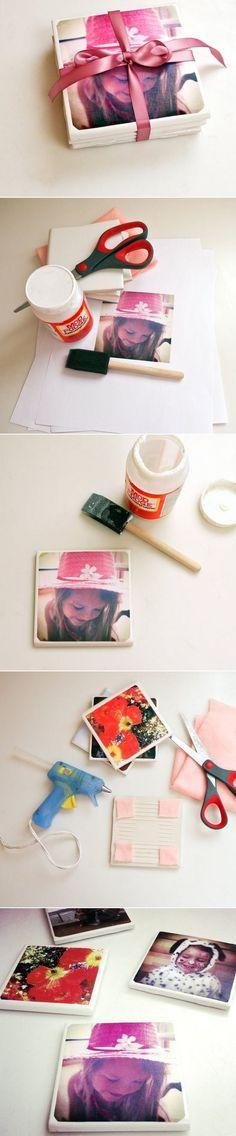 DIY Tile Photo Coasters