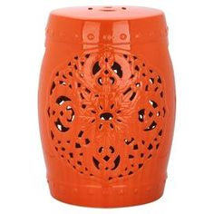 """Add a stylish touch to your patio or living room decor with this lovely ceramic garden stool, showcasing an openwork medallion-inspired motif and a glazed orange finish.  Product: Garden stoolConstruction Material: CeramicColor: OrangeFeatures: Medallion-inspired designDimensions: 18"""" H x 13"""" Diameter"""