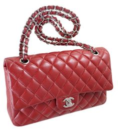 Chanel Red Quilted Caviar Leather Classic 2.55 Double Flap Bag