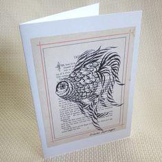 Zentangle Goldfish Cards, Set of 4. $9.50, via Etsy.