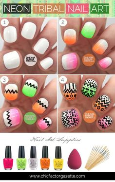 DIY Nails Art :DIY Neon Nails Art: DIY Tribal Nail Art Tutorial : Aztec Nailart, Neon Tribal Nail Art Tutorial, Easy Nail Art Tutorials