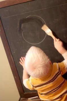 Tracing Letters Shapes on the Chalkboard. Materials needed: water, paintbrush, chalkboard. Fine Motor Activities For Kids, Activities For 2 Year Olds, Toddler Activities, Shape Activities, Water Activities, Alphabet Activities, Language Activities, Tracing Shapes, Tracing Letters
