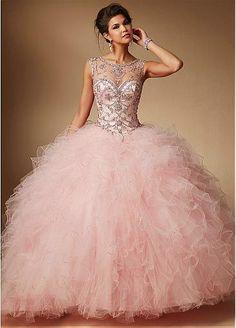 Brilliant Tulle & Satin Bateau Neckline Ball Gown Quinceanera Dresses
