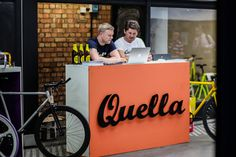 The two founders of Quella Bikes, Jordan Emery, and Mark Langley at their pop-up shop in Old Street Station. #quella #quellabikes #fixie #bike #cycling #bicycle #custombike #founders #startup #pop-up #popupshop