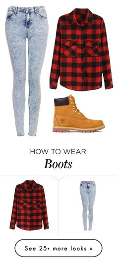 """""""Those Boots"""" by marsophie on Polyvore featuring Topshop, Timberland, women's clothing, women, female, woman, misses and juniors"""