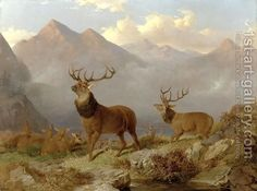 Stags And Hinds In A Highland Landscape, 1864 by John Frederick Herring, Jnr.