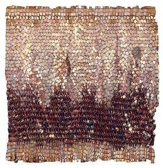 Woven metal tapestry by Columbian artist Olga de Amaral