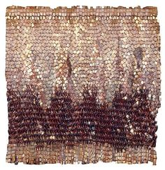 Woven metal tapestry by Columbian artist Olga de Amaral. Reminds me of El Anatsui.