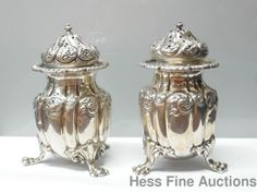 Two Antique Howard Co New York Sterling Silver 1899 Repousse Salt Pepper Shakers