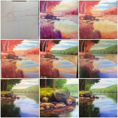 Step By Step Forest Acrylic Painting By Artist Mahith Abstract Painting Techniques, Painting Lessons, Art Techniques, Painting & Drawing, Drawing Step, Painting Tips, Abstract Paintings, Drawing Ideas, Original Paintings