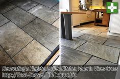 This customer who lived in the old Sussex village of Vines Cross near Horam, had a lovely Flagstone floor installed in the Kitchen some years earlier but because they wanted a completely natural look no sealer had been applied. With no protection in place dirt had become ingrained into the pores of the stone over time making it dull and difficult to clean effectively.