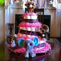 Baby girl diaper cake with big eyed TY animals