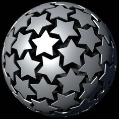 """Depiction of close-packing of 72 stars on the surface of a sphere • Icosahedral and dodecahedral symmetry Based on journal paper: """"Packing of Equal Regu. Face Symmetry, Royal Society Of London, Geodesic Sphere, Decorative Spheres, Geometric Sculpture, Journal Paper, Blacksmithing, Geometry, Digital Art"""