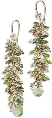 Peachy Green Shoulder Duster Earrings featuring SWAROVSKI ELEMENTS Pure Leaf Pendant, Green Eyed Lady Crystal Jam, and brass leaf charm chain.
