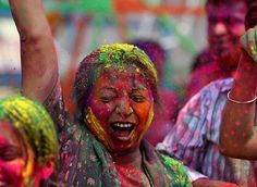 Holi (होली), is a religious spring festival celebrated by Hindus in India. This has to be the most fun holiday in the world.
