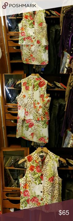 SANDRA KING 2-piece (vest &slirt) Floral/animal print... It's very pretty. Can be worn for work or dressed up and worn out. It could be good for  a date or brunch with the parents. Stand Collar Button down vest 75% silk  25% linen  Size 12 Sandra King Other