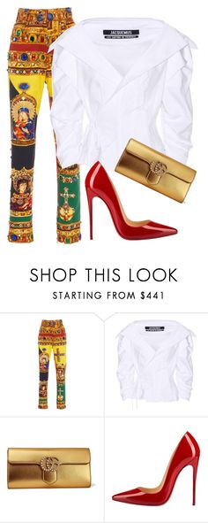 """""""Untitled #161"""" by nelafashion ❤ liked on Polyvore featuring Versace, Jacquemus, Gucci and Christian Louboutin"""