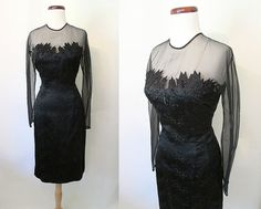 Sexy 1950's Designer Cocktail Party Dress w/ by wearitagain