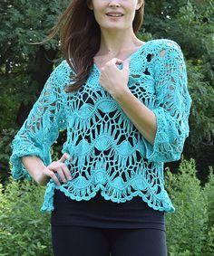 Look at this #zulilyfind! Turquoise Hairpin Crochet Top #zulilyfinds