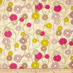 Art Gallery Naturella Glowing Daises Night from @fabricdotcom  From Art Gallery Fabrics, this cotton print is perfect for quilting, apparel and home decor accents.  Colors include beige, grey, pink, hot pink, yellow and light lime.  Art Gallery Fabric features 200 thread count of finely woven cotton.