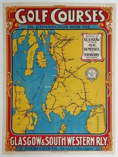 Original vintage poster Golf Courses Glasgow & South Western Railway - Troon Turnberry