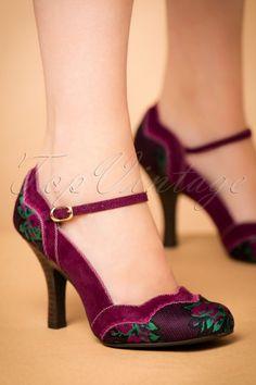 Rockabilly Shoes- Heels Pumps Boots Flats Rockabilly Shoes- Pin Up Heels Boots Flats Imogen Floral Pumps in Plum 73 44 AT vintagedancer Pretty Shoes, Beautiful Shoes, Cute Shoes, Me Too Shoes, 50s Shoes, Pin Up Shoes, Shoes Heels Pumps, High Heels, Rockabilly Shoes