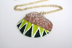Sea Shell Necklace Pendant Necklace - Lime Green, Forest Green, and White Triangles Dipped Color Block, via Etsy.