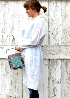Women's Linen robe , embellished light shirt dress , upcycled tie lounge coat , size M L ecofashion repurposed recycled by wearlovenow on Etsy, $38.00