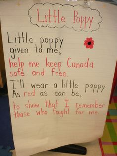 Poppy poem for young children can change place to suit.rememberence day Poppy poem for young childre Remembrance Day Poems, Remembrance Day Activities, Kindergarten Poems, Full Day Kindergarten, Daily 5, Grade 1, Poppies Poem, Poppy Craft, Shared Reading