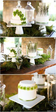 ► Pasteles de boda con un diseño encantador de hojas verdes. #pasteles #bodas