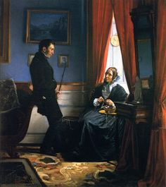 The Artists Parents, Mr. & Mrs. Bloch, in their Sitting Room  1855  Carl Heinrich Bloch  Oil on Canvas, (n.d.)  Artwork in private collection, image via the Athenaeum