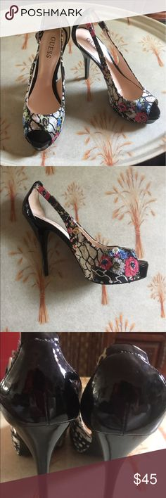 """Guess heels Guess evening black patent leather red floral pattern heels. Worn once. 4.5"""" heels with 3/4"""" platform. Just  gorgeous. Guess Shoes Heels"""