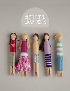 DIY Floss Wrapped Clothespin Doll Tutorial from This Heart of Mine here. When I was a child I made these clothespin dolls using felt scraps ...