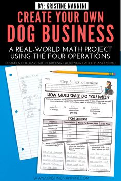 Create Your Own Dog Business Math Project - Young Teacher Love 5th Grade Classroom, Middle School Classroom, 4th Grade Math, Third Grade, Math Help, Fun Math, Teaching Addition, Infant Lesson Plans, Classroom Procedures