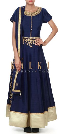 Buy Online from the link below. We ship worldwide (Free Shipping over US$100) Price-$199 Click Anywhere to Tag http://www.kalkifashion.com/navy-blue-anarkali-suit-adorn-in-zari-embroidery-only-on-kalki-21236.html