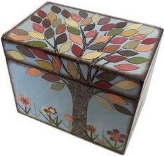Recipe Box Decoupaged Fall  Autumn Tree Wedding by IHaveBeenFramed, $38.00