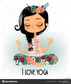 Stock Vector (Royalty Free) about Cute Cartoon Girl Yoga Lotus cute cartoon girl in yoga lotus pose Yoga Inspiration, Fitness Inspiration, Yoga Meditation, Zen Yoga, Chico Yoga, Lotus Pose Yoga, Yoga Cartoon, Namaste, Posca Art