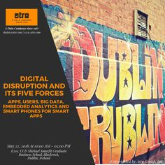 Dublin, Ireland Calling!  Digital disruption and its five forces - Apps, Users, Big Data, Embedded Analytics and Smart Phones for Smart Apps  -By Shaku Atre, Atre Group, Inc., May 22, 2018, At 10:00 AM - 05:00 PM,  E201, UCD Michael Smurfit Graduate Business School, Blackrock, Dublin, Ireland.   #Digital #Disruption #MobileApplication #Apps #BigData #EmbeddedAnalytics #Analytics