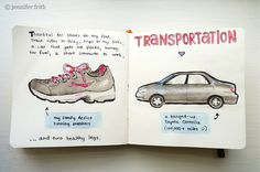 Jenny's Sketchbook: Gratitude Journal: Transportation