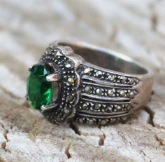 Vintage Emerald Green Stone Marcasite Ring by Gener8tionsCre8tions, $85.00